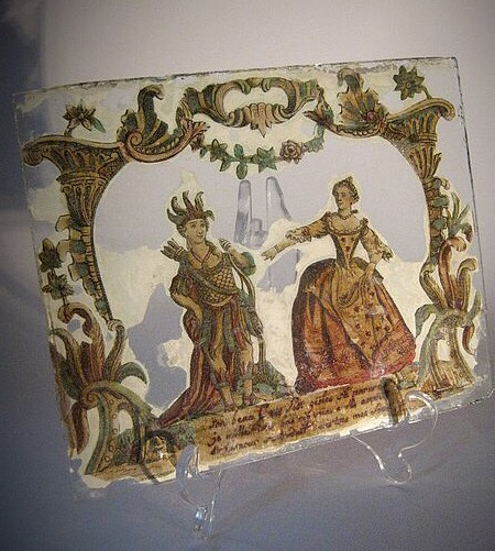 antique decorated glass