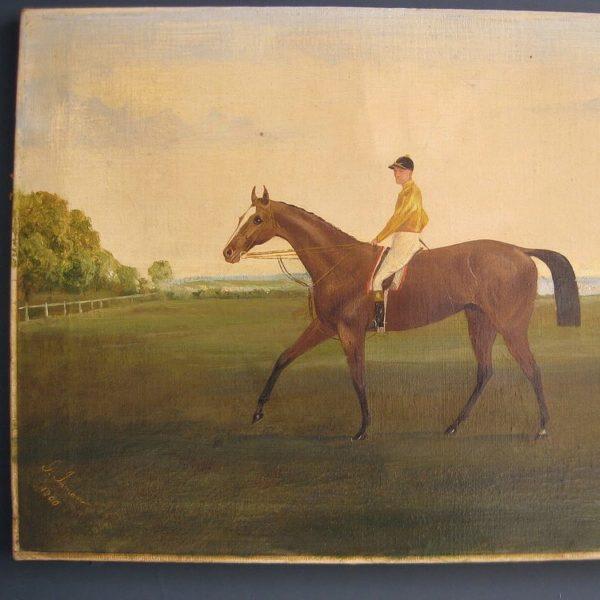 Horse and jockey painting