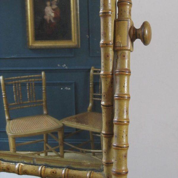 Antique faux bamboo mirror