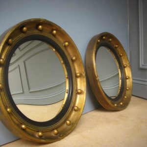 pair of antique convex mirrors