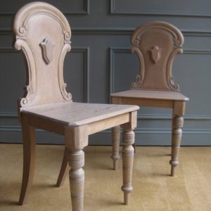 Pair of bleached oak Victorian hall chairs