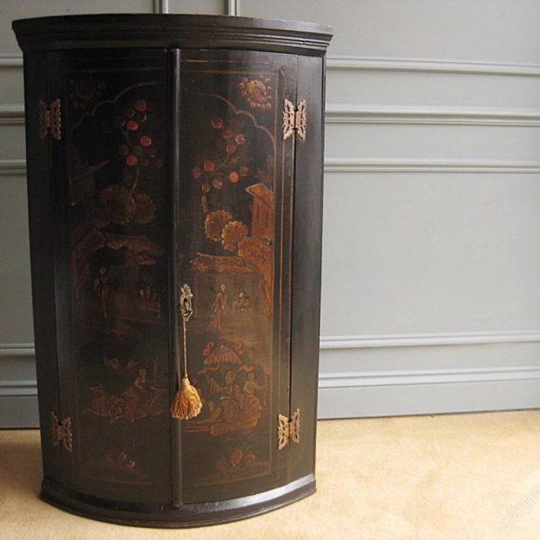 Antique chinoiserie corner cupboard