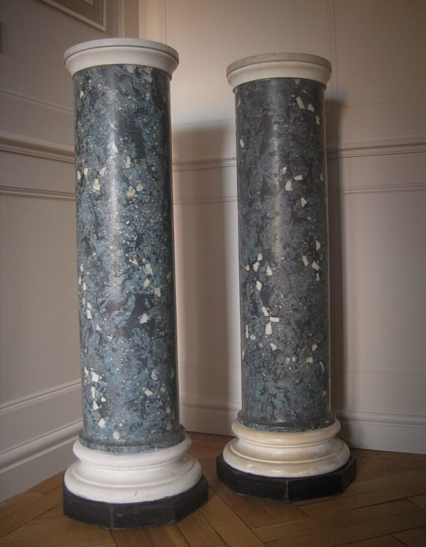 Pair of marble and scagliola pedestals