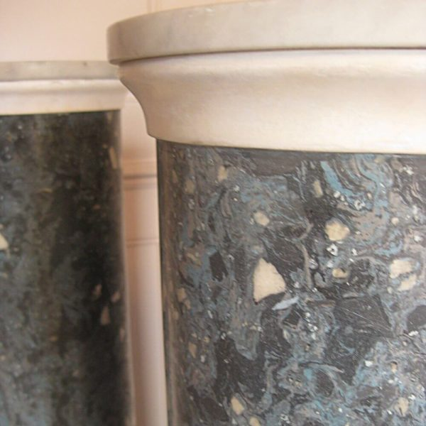 blue scagliola pedestal