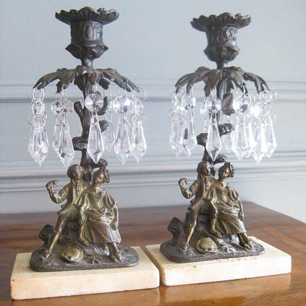 pair of cast bronze lustres