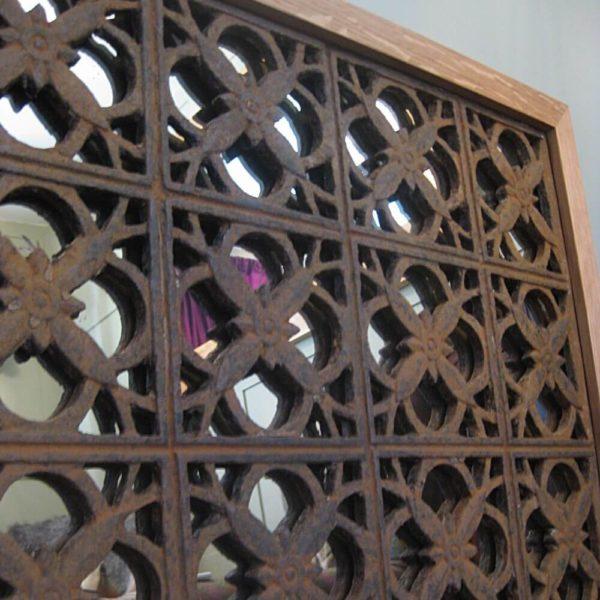 Upcycled iron frame mirror
