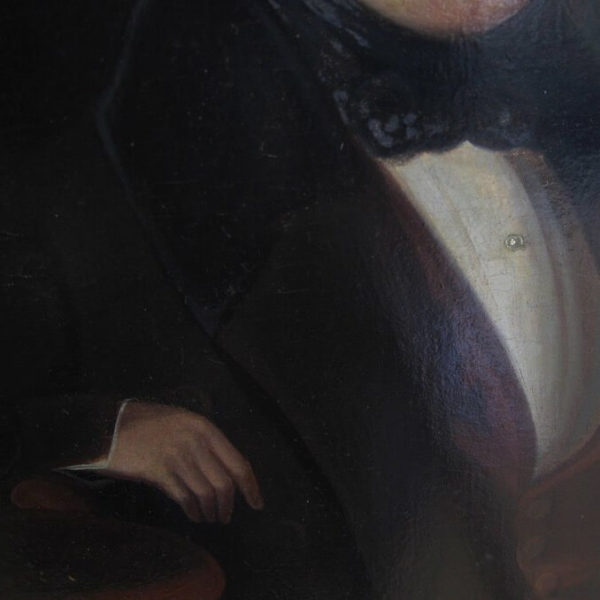 Victorian oil portrait on board