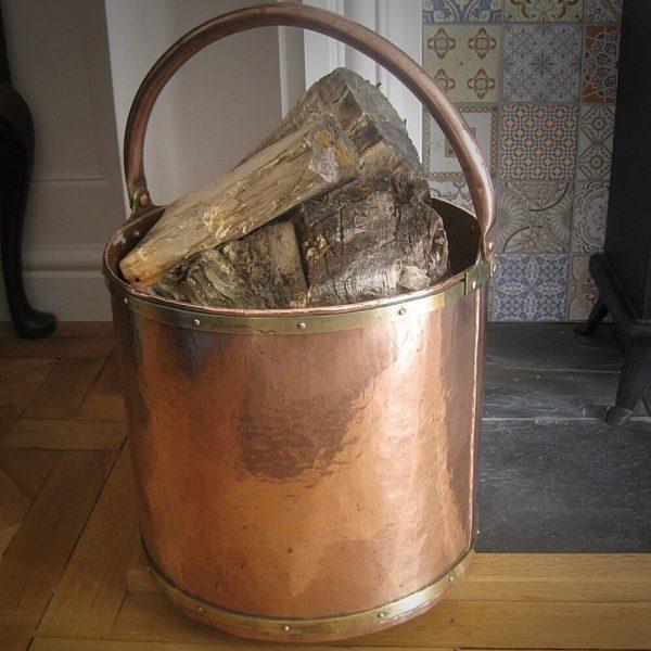 copper fireside log bin