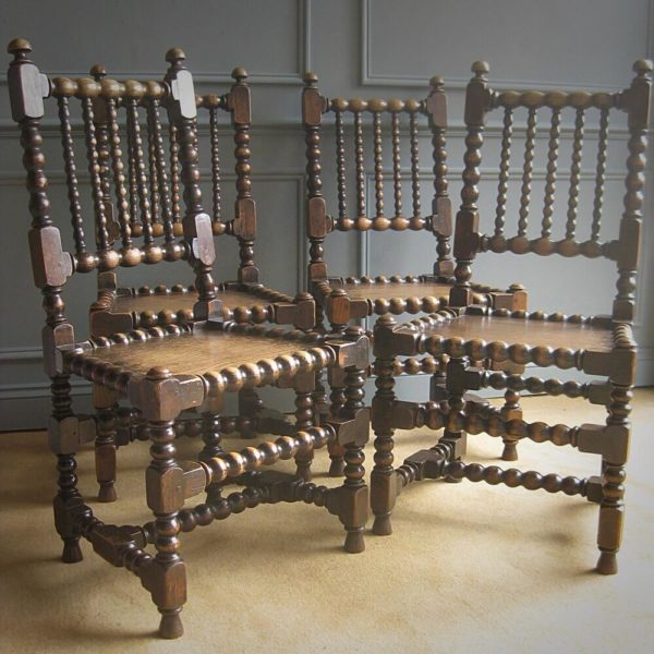 Antique oak bobbin chairs